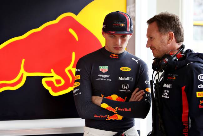 Max Verstappen y Christian Horner, de Red Bull, en Interlagos.