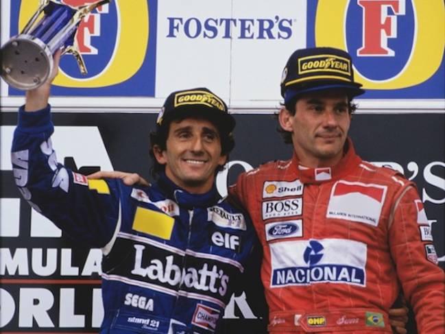 Prost y Senna, en el podio de Adelaida 1993.
