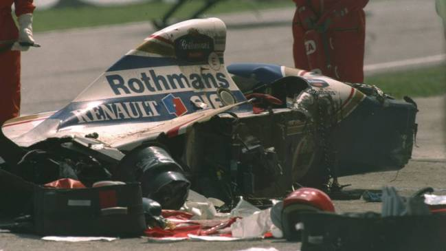 El Williams FW16 de Senna, después del fatídico accidente en Ímola.