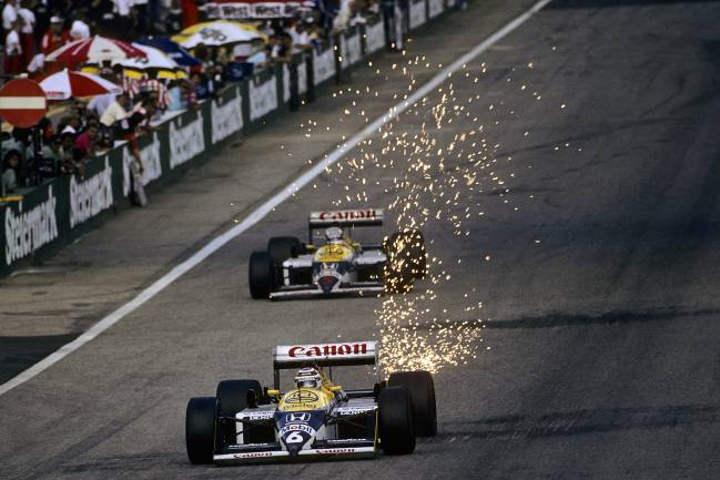Nigel Mansell y Nelson Piquet, con los Williams-Honda de 1987.