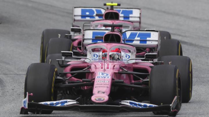 Sergio Pérez y Lance Stroll (Racing Point RP20). Estiria, F1 2020.