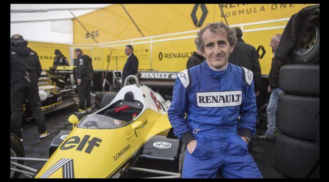 Alain Prost, durante una exhibición con Renault en 2018.