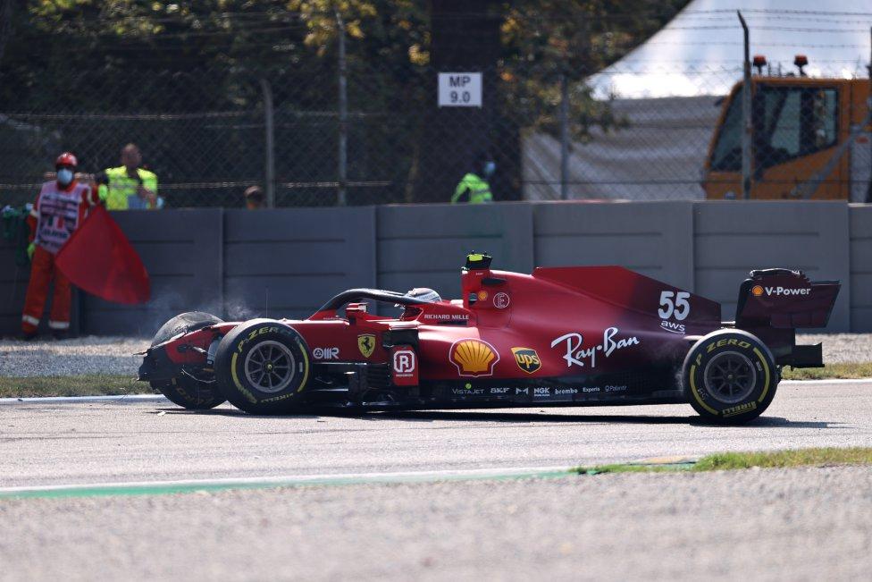 Accidente Ferrari de Carlos Sainz en Monza. GP de Italia