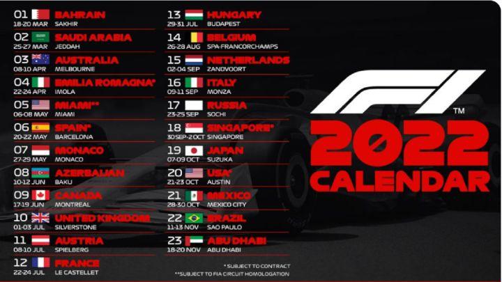 La F1 tiene calendario para 2022