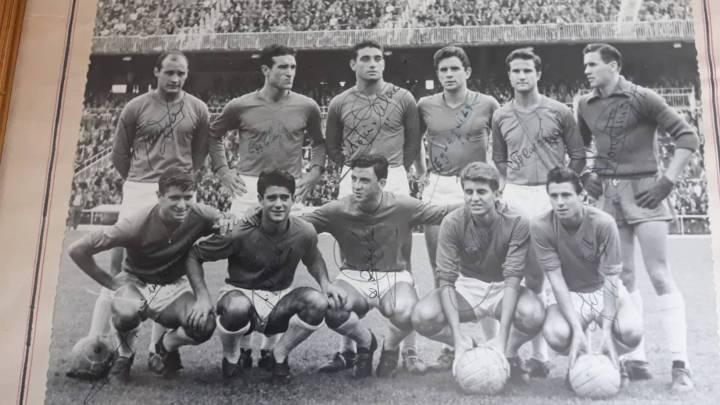 De izquierda a derecha y de arriba abajo, Ramos, Calleja Marquitos II, Egusquiza, Carvajal, Florentino; Esperanza, Llorens, Pallares, Villa y Gento II.