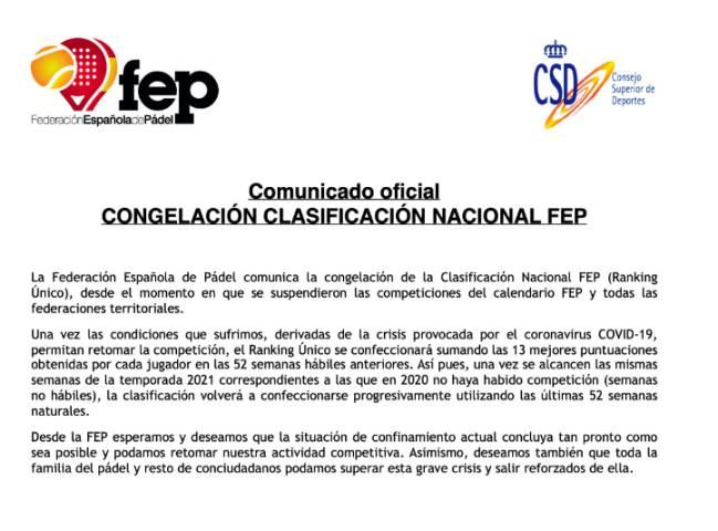 La dichiarazione FEP che annuncia la misura del coronavirus.