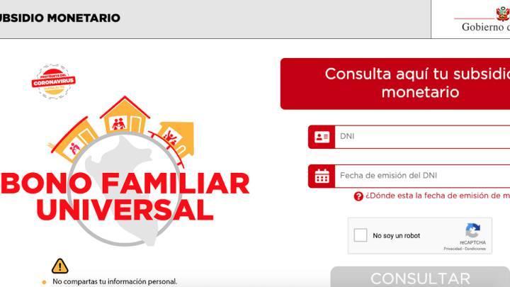 Bono Familiar Univeral: link a la plataforma y cómo consultar si eres beneficiario con DNI