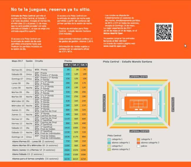 Gu a del mutua madrid open 2017 entradas horarios for La caja sucursales horarios