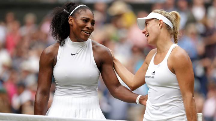 Serena Williams y Angelique Kerber, en la final de Wimbledon 2016.
