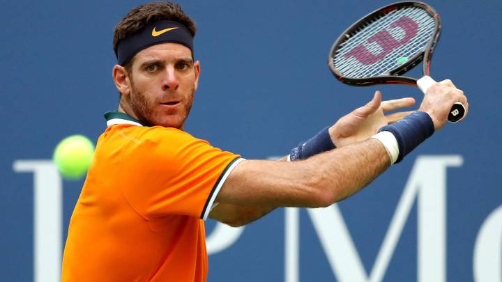 Juan Martín Del Potro devuelve una bola ante John Isnerdurante su partido de cuartos de final del US Open en el USTA Billie Jean King National Tennis Center de Flushing Meadows, New York City.