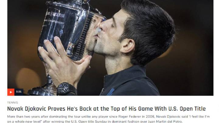 Imagen de la web de Sports Illustrated con la noticia del triunfo de Novak Djokovic en la final del US Open ante Juan Martín del Potro.