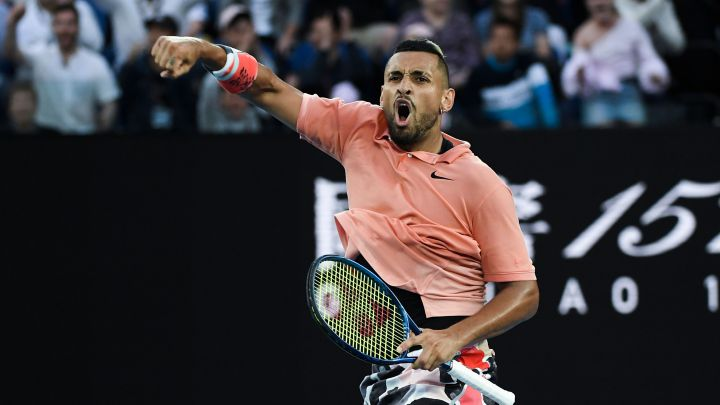 Nick Kyrgios celebrates a point during his match against Rafa Nadal at the 2020 Australian Open.