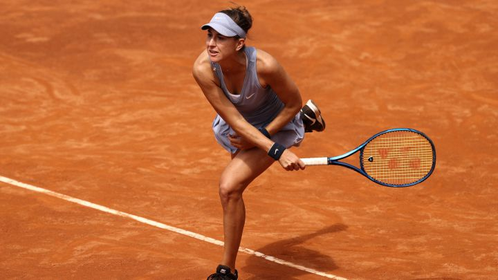 Belinda Bencic takes out during her match against Kristina Mladenovic at the Internazionali BNL d'Italia, the WTA 1,000 in Rome, at the Foro Italico in Rome.