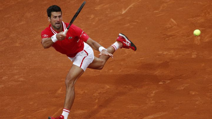 Novak Djokovic returns a ball during his match against Rafa Nadal in the final of the Masters 1,000 in Rome.