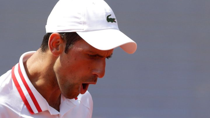 Novak Djokovic celebrates a point during his match against Mats Moraing at the Belgrade Open.