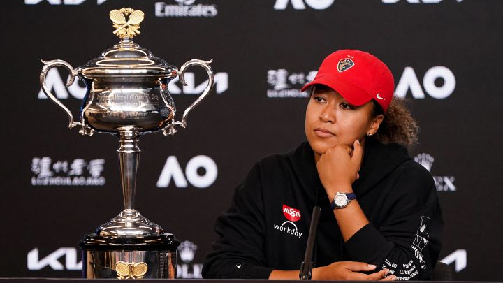 Naomi Osaka speaks at a press conference after proclaiming herself the 2021 Australian Open champion.