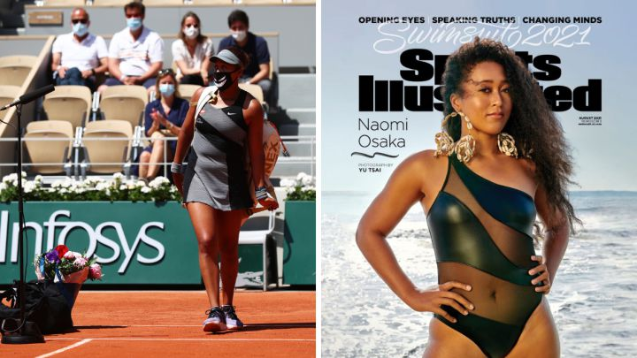 Naomi Osaka, after a game at Roland Garros 2021 and as the cover of the Sports Illustrated swimwear issue.