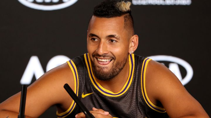 Nick Kyrgios speaks at a press conference during the 2020 Australian Open.