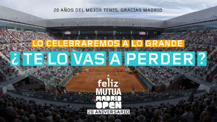 Promotional poster for the 20th anniversary of the Mutua Madrid Open.