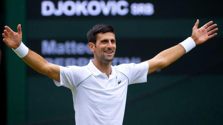 Novak Djokovic in celebration after winning Wimbledon 2021.
