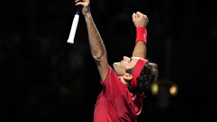 Roger Federer after his victory in the final of the Swiss Indoors Tennis Tournament in Basel in 2019.
