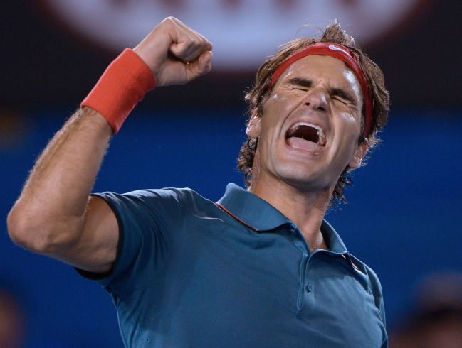 Roger Federer after his win against Andy Murray at the 2014 Australian Open.