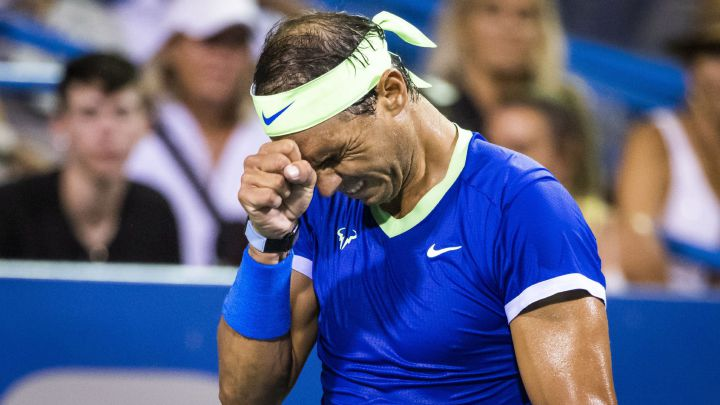 Rafa Nadal laments after a blow during his match against Lloyd Harris at the Citi Open at Rock Creek Park Tennis Center in Washington, DC.
