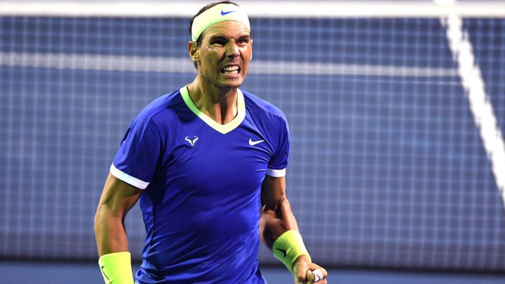 Rafa Nadal celebrates a point during his match against Jack Sock at the Citi Open at Rock Creek Tennis Center in Washington.