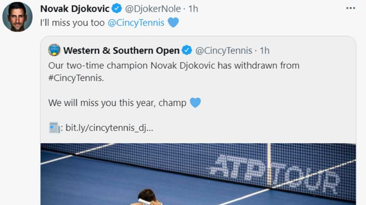 Djokovic also withdraws from Cincinnati and will return at the US Open