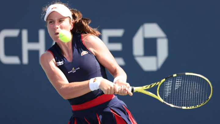 British tennis player Johanna Konta returns a ball during her match against Sorana Cirstea at the 2020 US Open at the USTA Billie Jean King National Tennis Center in New York.