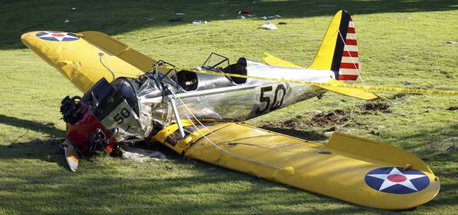 Avioneta de Harrison Ford tras su accidente en 2015.