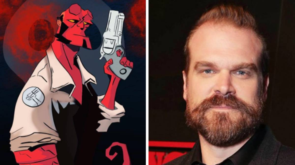 """Hellboy"" en cómic y el actor David Harbour que le interpreta en ""Hellboy: Rise of the Blood Queen"". Fotos Instagram/Twitter"