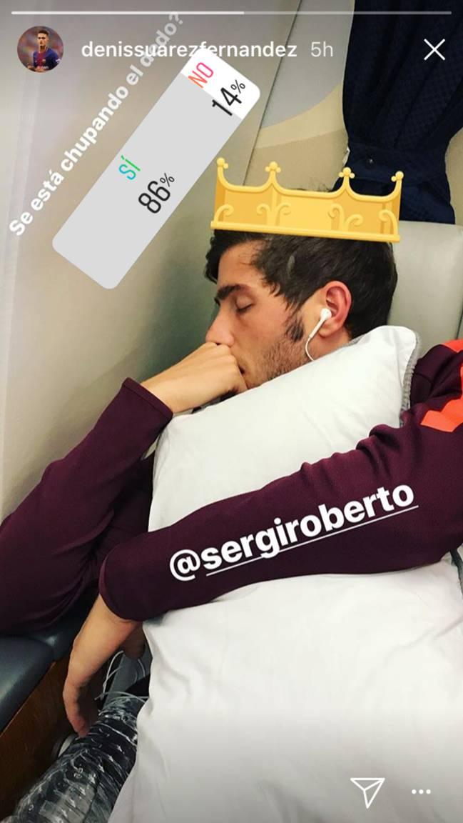 La divertida broma/encuesta de Denis Suárez sobre Sergi Roberto en Instagram. Foto Instagram Stories @denissuarezfernandez
