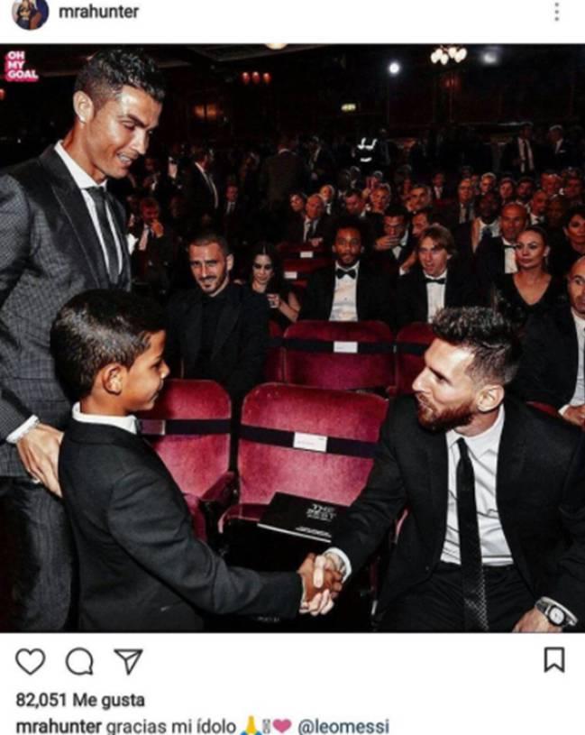 La publicación que dedicó el hacker de Cristiano Ronaldo Junior a Lionel Messi.