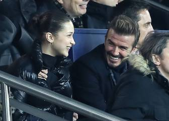 David Beckham y Bella Hadid, juntos en el PSG-Real Madrid