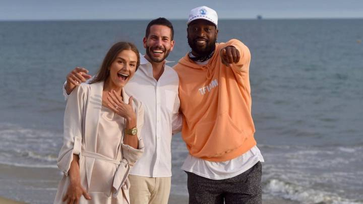 dwyane wade pedida de mano boda matrimonio se cuela paseo playa rosewood california instagram stories miami heat nba