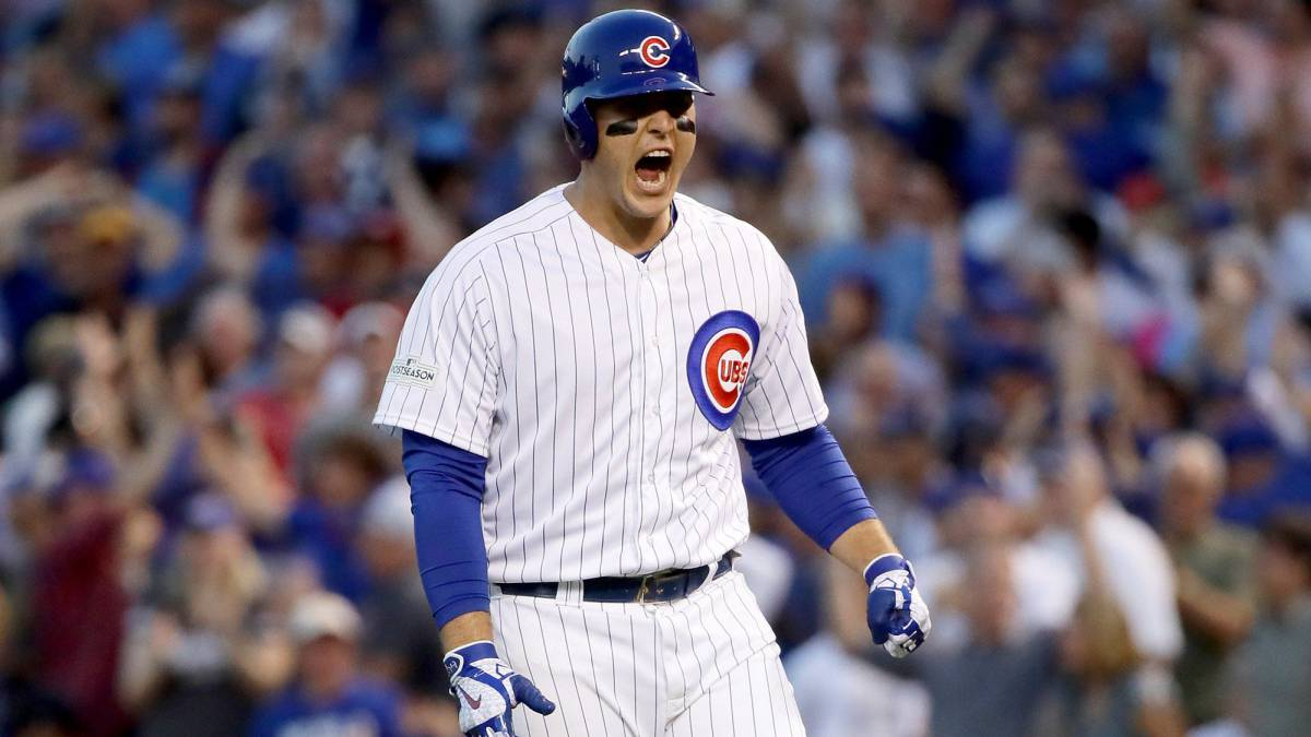 Anthony Rizzo celebra el hit que impulsó la carrera de la victoria de sus Chicago Cubs contra los Washington Nationals.