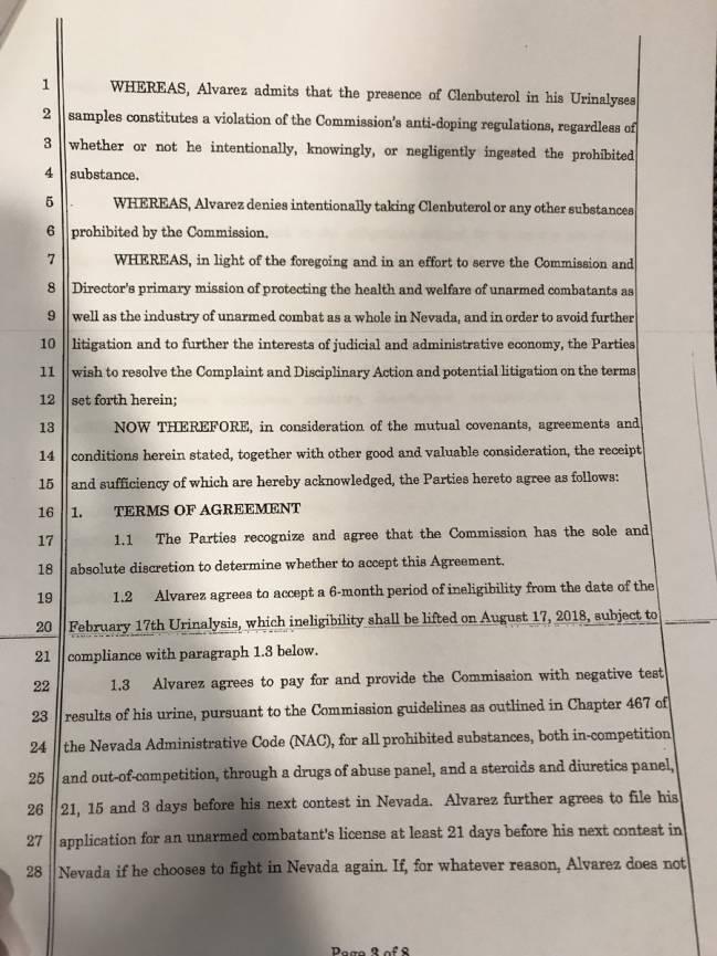 Documento en el cual se revela la suspensión a Canelo