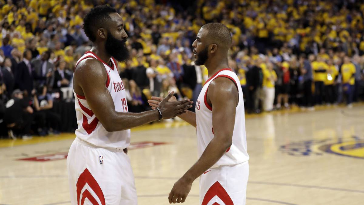 Chris Paul y James Harden, jugadores de los Houston Rockets
