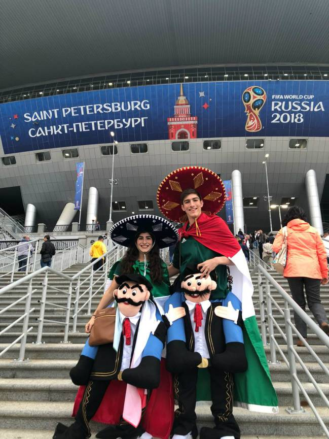 María Fernanda y Juan Pablo previo al partido de semifinales entre Francia  y Bélgica. 9bd0ae5973b