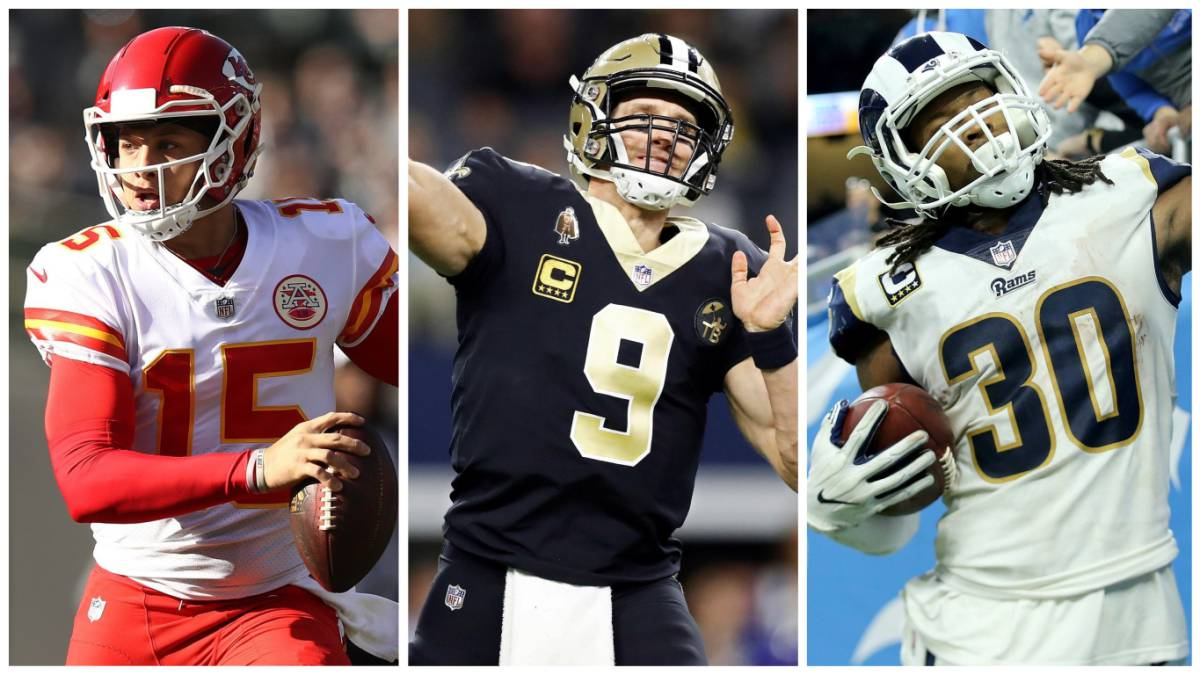 Patrick Mahomes, Drew Brees y Todd Gurley