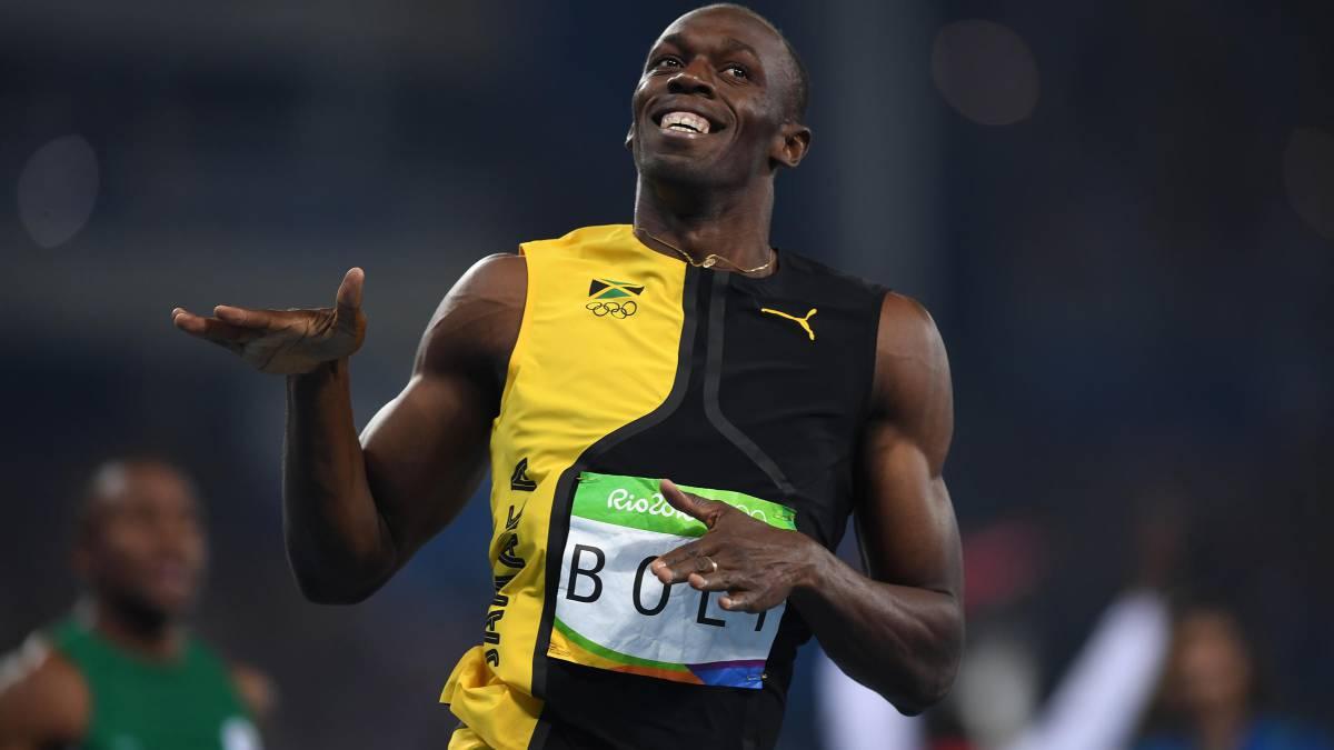 Usain Bolt ganando una carrera de 100 metros en Río de Janeiro 2016