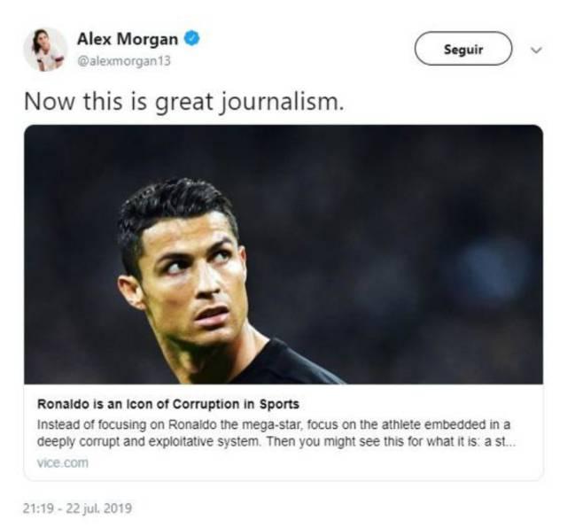 Alex Morgan responde a la desestimación de la imputación de Cristiano Ronaldo en el caso de agresión sexual.