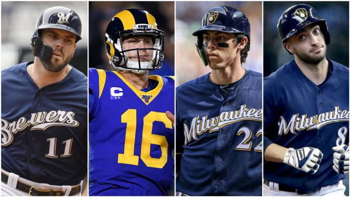 Mike Moustakas, Jared Goff, Chrisian Yelich y Ryan Braun