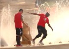 Mbia's close call in the fountain
