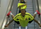 Bird? Plane? Alves on the escalator?