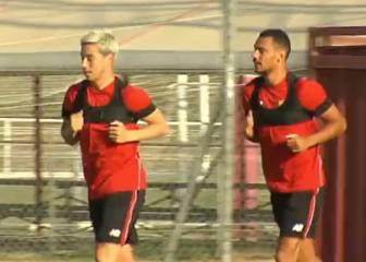 Midfielder Samir Nasri trains with Sevilla for the first time