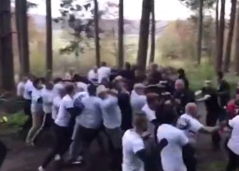 French and Dutch hooligans stage brutal arranged fight