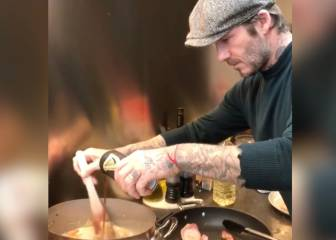 David Beckham shows off his cooking skills