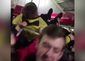 Wolves fans get Stoke security guard crowd-surfing